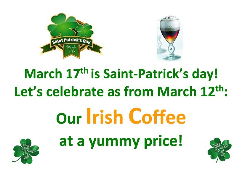 Do you wish an Irish Coffee for the Saint-Patrick's day?